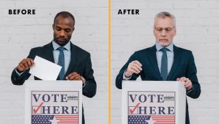 Black man turns white
