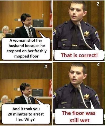 The floor was still wet